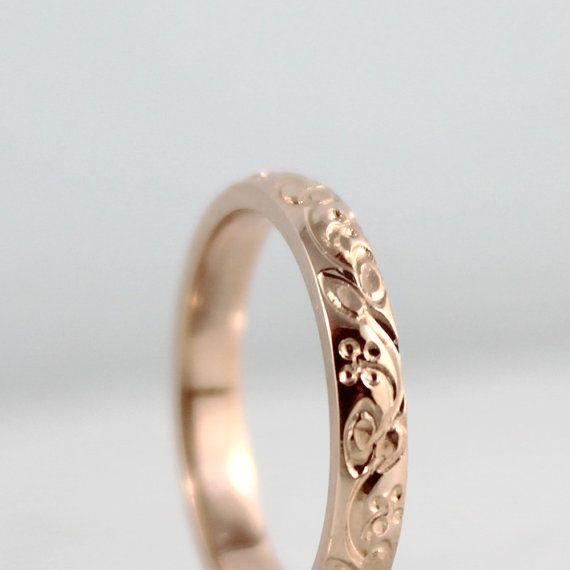 14K Rose Gold Wedding Band  Design Band  van EngagedJewelry op Etsy, $595.00