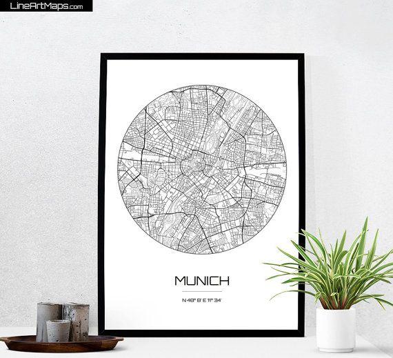 Munich Map Print - City Map Art of Munich Germany Poster - Coordinates Wall Art…