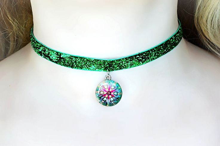 Submissive collar hippie hippies clothing mushrooms necklace psychedelic trance boho chic pendant festival costumes neon