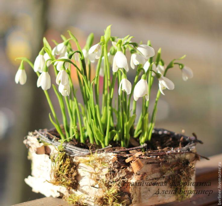 Купить Весна - белый, подснежники, подснежник, композиция, Холодный фарфор, весна, настроение, нежность, подарок