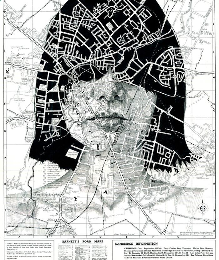 Pencil Portrait Mastery - Illustrator Ed Fairburn's Maps series turns road and subway maps into interesting canvases for his ink and pencil portraits. The artist utilizes the multicolored, patterned surface of each map to serve as an eye-catching attribute that echoes the complex textures found in the human form. edfairburn.com/ #drawing #maps - Discover The Secrets Of Drawing Realistic Pencil Portraits