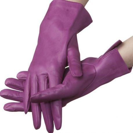 Lundorf Flora Ladies short Italian leather gloves - deep purple
