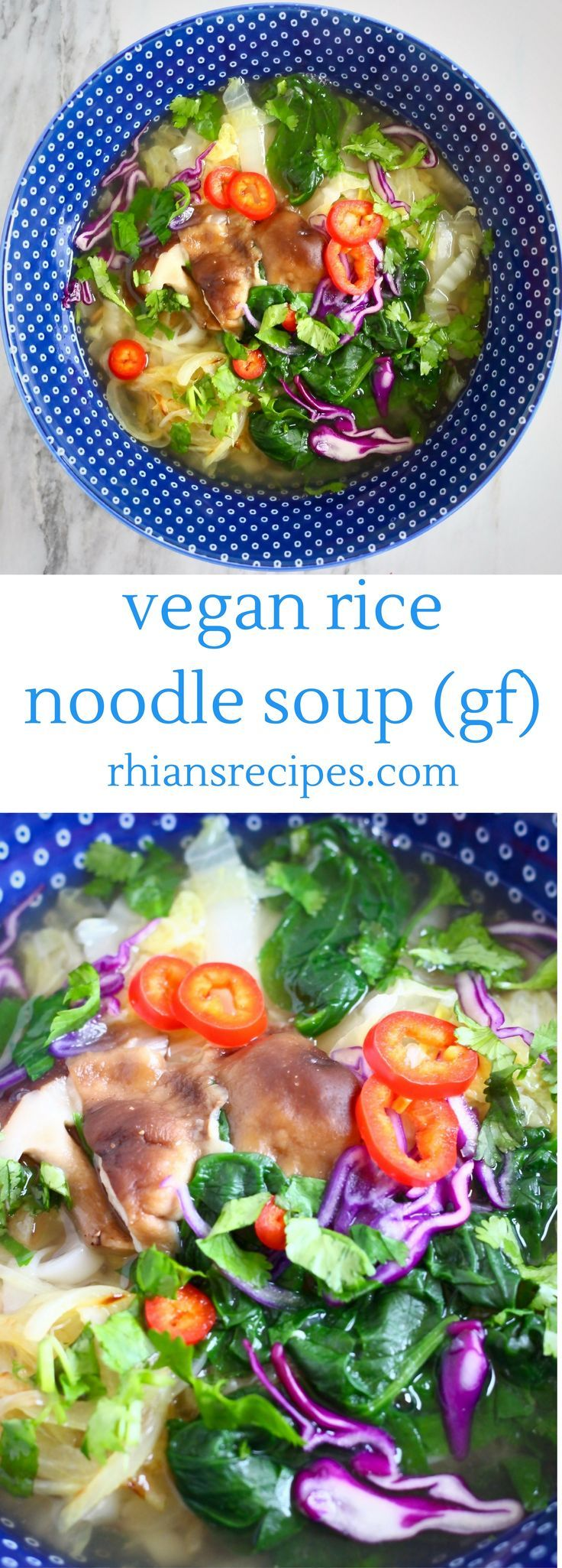 This Vegan Rice Noodle Soup is super quick and easy to make as you can cook it all together in one pot. Veggie-packed and gluten-free.