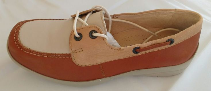 Womens Ladies EasyB Tan Brown Leather Flat Boat Shoes Size 4/37 Wide Fitting New