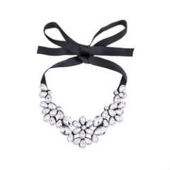 Silver & Co. Statement Necklace with Ribbon