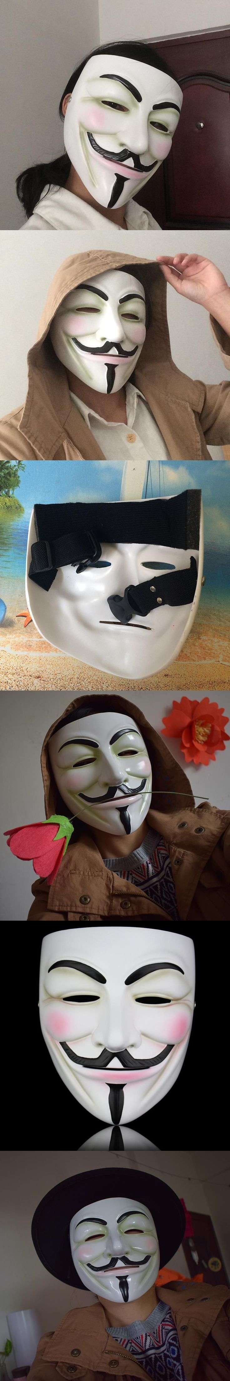 High Quality White Bronze Resin V for Vendetta Mask Halloween Masquerade Prop Anonymous Guy Fawkes Fancy  Adult Cosplay Mask