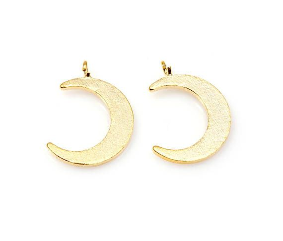 2pcs  Satin Gold Moon Pendant / 16k gold plated / satin