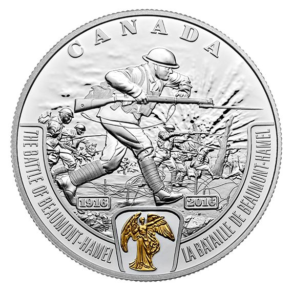 1 oz. Pure Silver Selectively Gold-Plated Coin - First World War Battlefront: The Battle of Beaumont-Hamel - Mintage: 10,000 (2016)