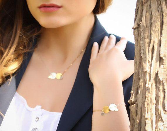 """Silver disc bracelet, gold disc bracelet, love bracelet, brushed bracelet, heart bracelet, circle bracelet, eternity, """"Falling in Love"""""""