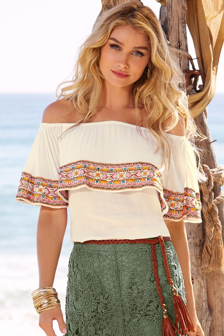 Boho Style | Women's Cream Embellished Off-The-Shoulder Shell Blouse by Boston Proper.
