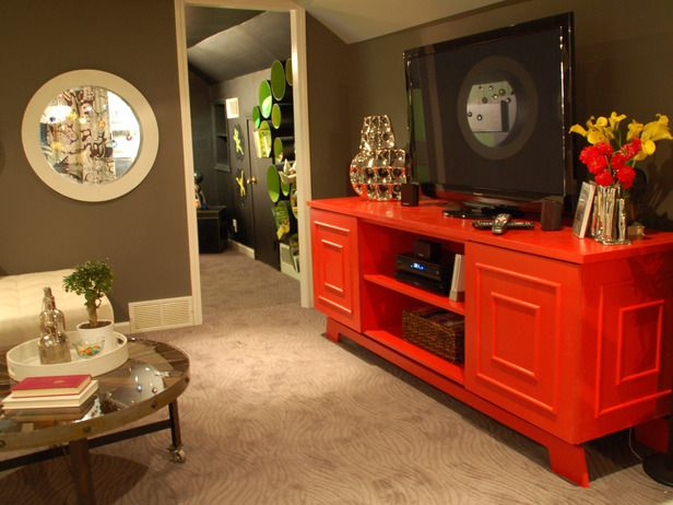 Like the red tv stand. Fun-Themed Dens and Family-Friendly Playrooms : Home Improvement : DIY Network