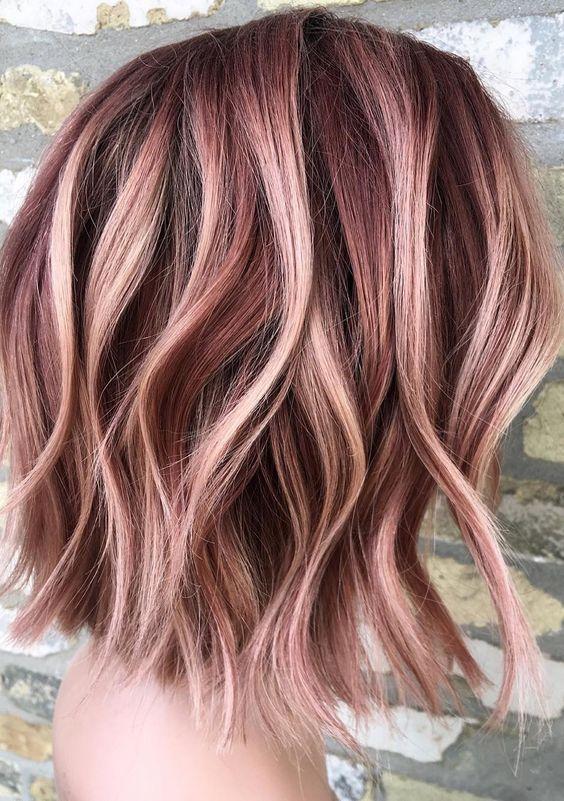 gorgeous rose gold hair color ideas