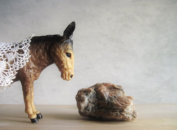 Donkey Love  Vintage Toy Burro Mule Stable Barn by FoxberryHill, $22.45
