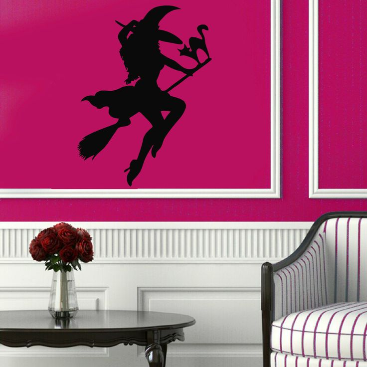 halloween wall decals girl witch on broom cat vinyl decal