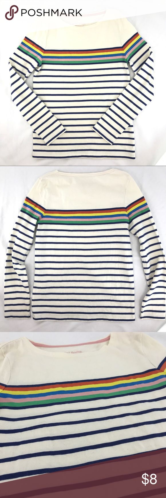 Mini Boden Girls 11-12 Striped Long Sleeve Top Mini Boden girl's multi-color striped long sleeve knit top * Size 11-12 Yr * 100% cotton * Gently used with small, faint spot on front - please see photos for details Mini Boden Shirts & Tops Tees - Long Sleeve