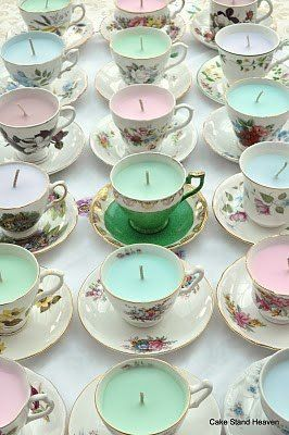 Wonderful favors for a Tea Party or Shower...teacups & candles. I'd wrap them with cellophane, tie with pretty bow, and tag.