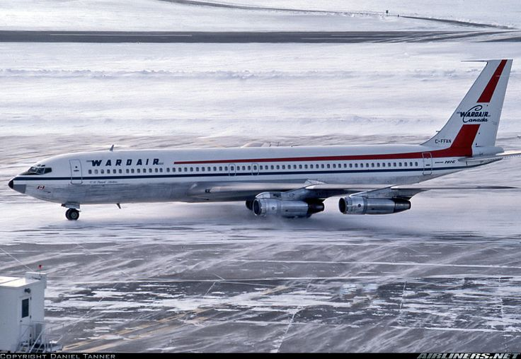 Wardair Canada Boeing 707-311C C-FFAN on an icy cold apron at Frankfurt-Main, January 1977. (Photo: Daniel Tanner)