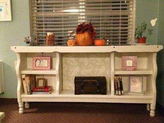 An old waterbed headboard is given new life as a bookcase shelf! Via FB re-scape.com