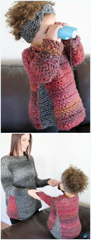 Crochet Duo Pullover Sweater Free Pattern - Crochet Kids Sweater Tops Free Patterns