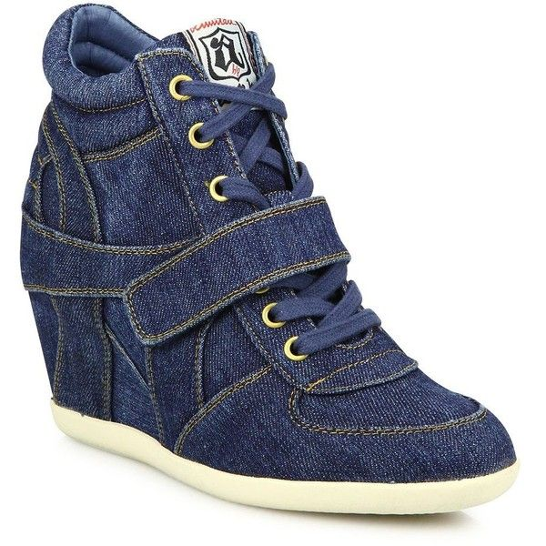 Ash Bowie Denim Wedge Sneakers (239 CAD) ❤ liked on Polyvore featuring shoes, sneakers, apparel & accessories, wedge sneakers, studded lace-up wedge sneakers, denim shoes, grip trainer and ash sneakers