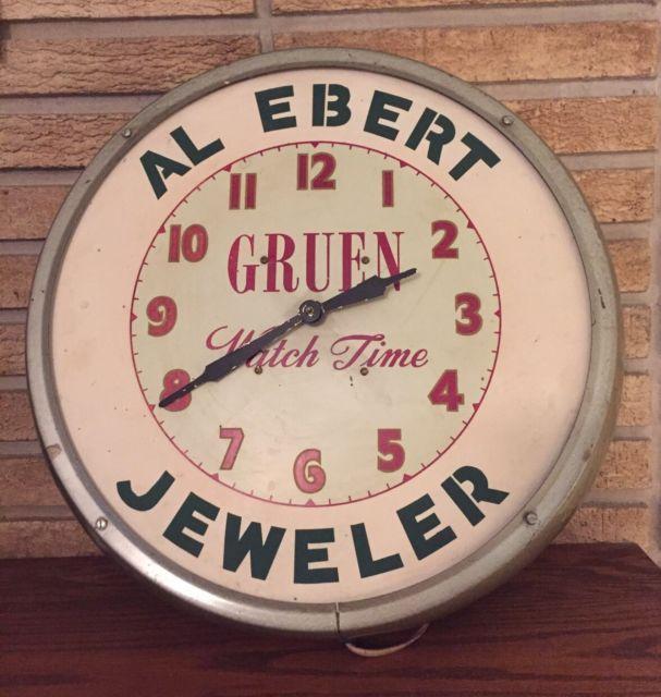 "Gruen Watch Time Advertising Wall Clock Metal Al Ebert Jeweler Works 16 1/2"" | eBay"