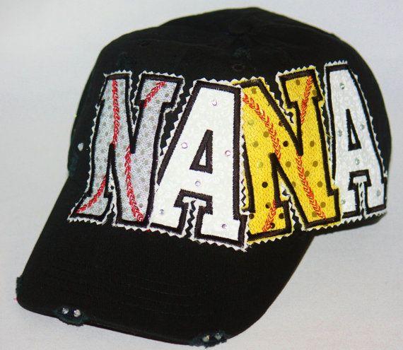 Custom baseball hat Softball hat. NANA appliques embellished