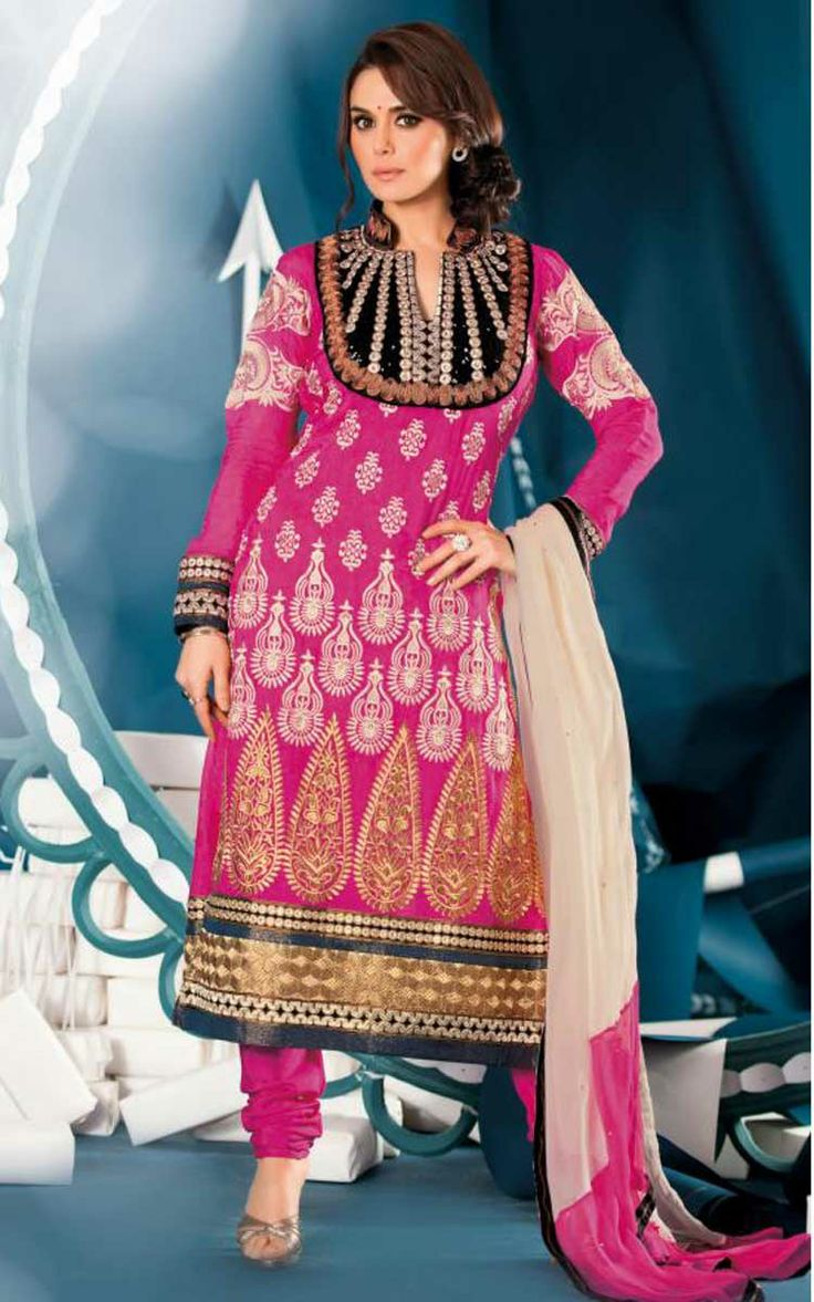 PINK & OFF WHITE JACQUARD EMBROIDERED SALWAR KAMEEZ - ZIN 9012