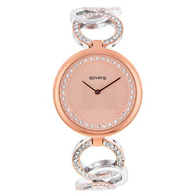 Reloj para Dama, tablero redondo, rosado, index + puntos, analogo, pulso metalico metalico