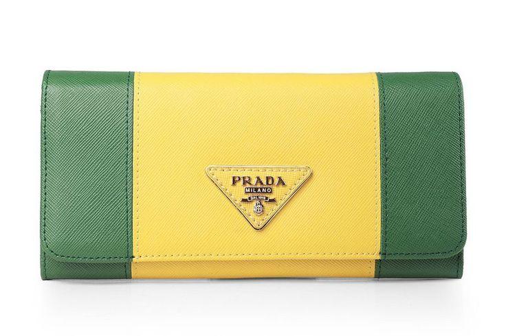 Prada Yellow/Green Saffiano Leather Bifond Wallet            $119.00