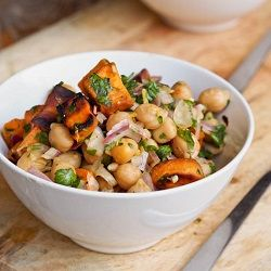 A simple and healthy filling vegan and gluten-free lunch or dinner - sweet potato and chickpea salad recipe.