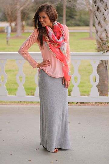 The Mint Julep Boutique :: New Arrivals :: The Long Run Maxi Skirt, Gray