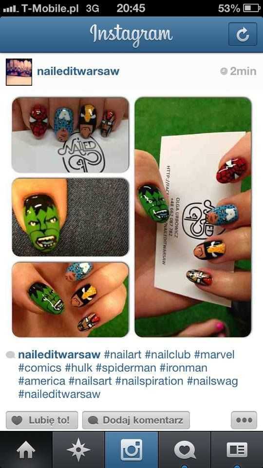 #nails #nailspiration #nailporn #nailswag #nailart #nails #nailsart #nailedit #nail #manicure #mani #marvel #comics #comic #art #geek