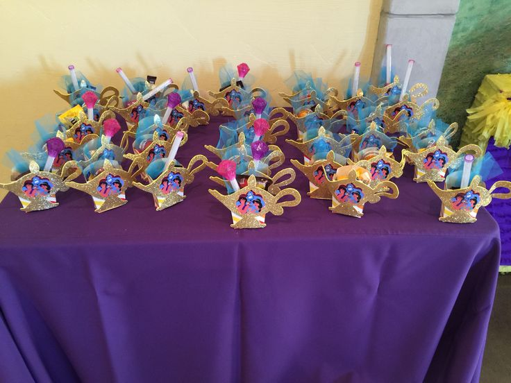 Princess Jasmine party favors, Aladdin theme.