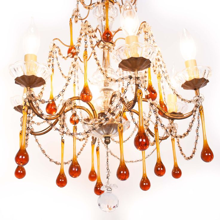 Petite vintage Italian chandelier with amber glass teardrops - so sweet!