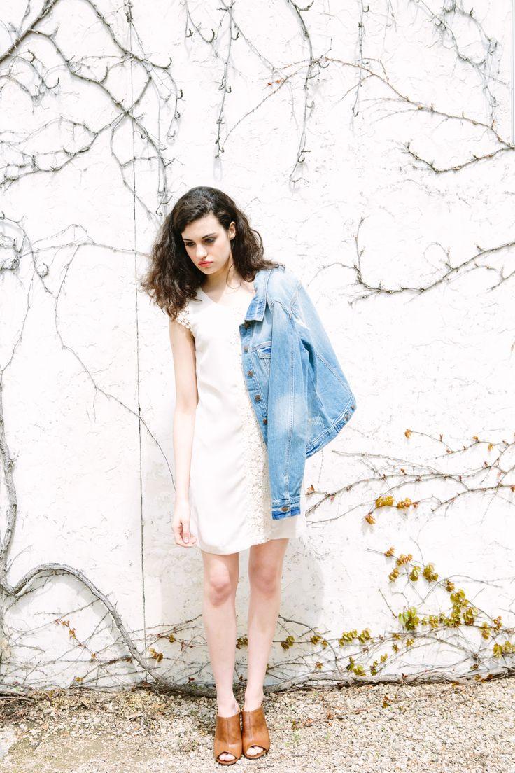 Buffalo Jeans Nadine Denim Jacket + Cream crochet shift dress lilyandviolet.com