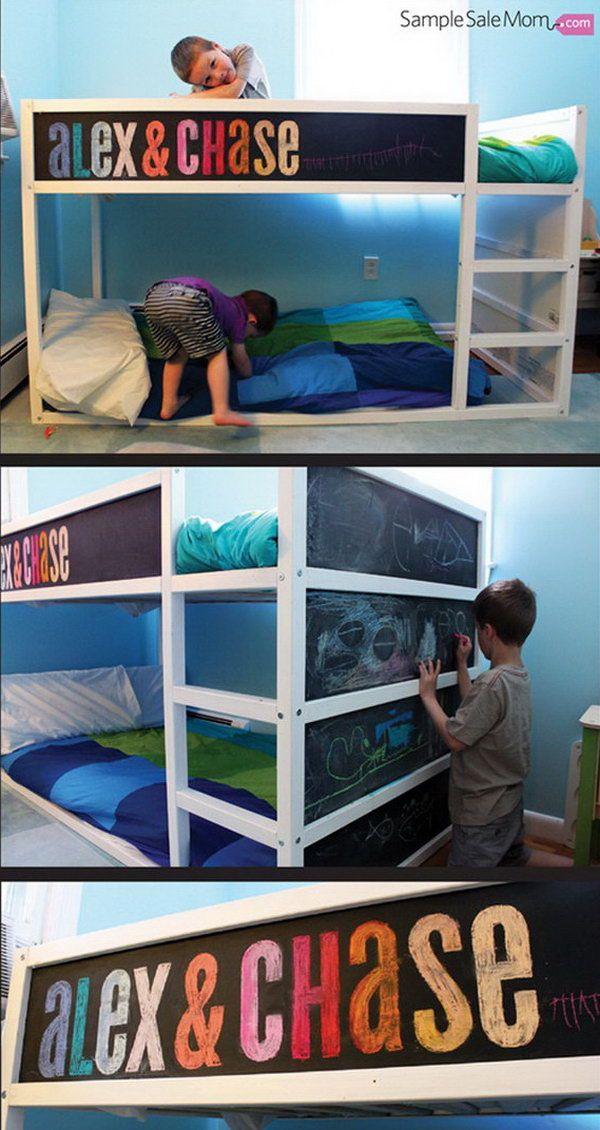 IKEA Kura Bed Makeover with Chalkboard Paint