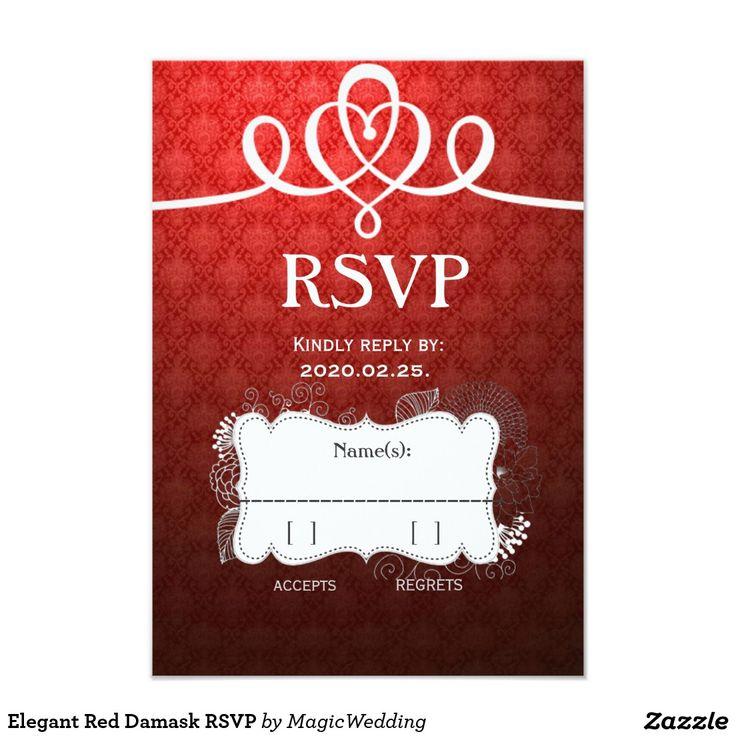 Elegant Red Damask RSVP Card