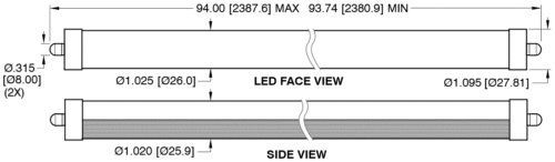 (42 Pack)- T8/T10/T12 LED Light Tube, 8FT, 36W (75W Replacement), 5000K (Day Light), 3600 Lm, Frosted Cover, FA8 Single Pin Base, Dual-End Powered, Bypass ballast, Shatterproof