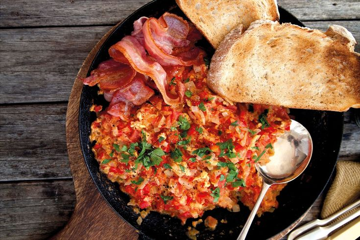 This breakfast dish was one of my mother's specialties that Dad always loved. How it got this name is a piece of family history I will never know, but essentially it's just a tender scramble of egg through tasty, homemade tomato sauce. Serve with toast and crispy bacon rashers, if wished.