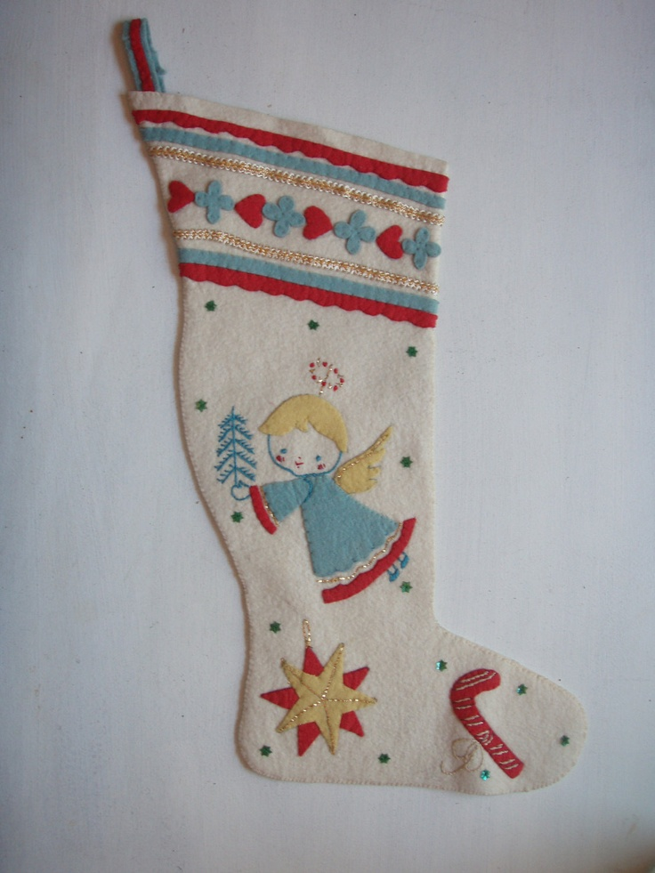 Handmade Vintage Swedish Wool Felt Stocking Angel And Star