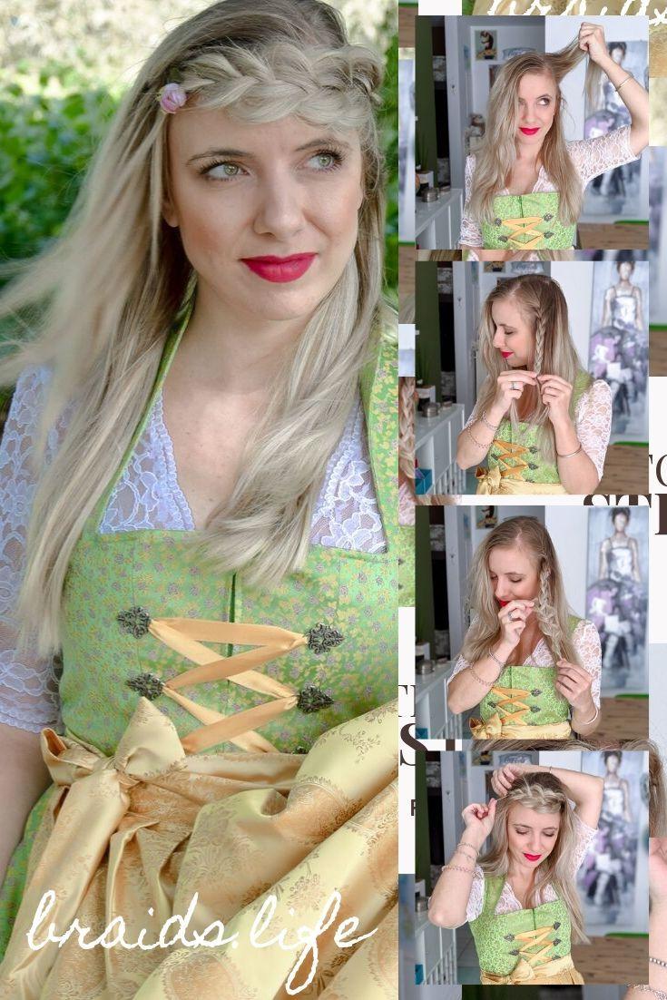 Einfache Frisuren Anleitung: Oktoberfestfrisur für offene Haare