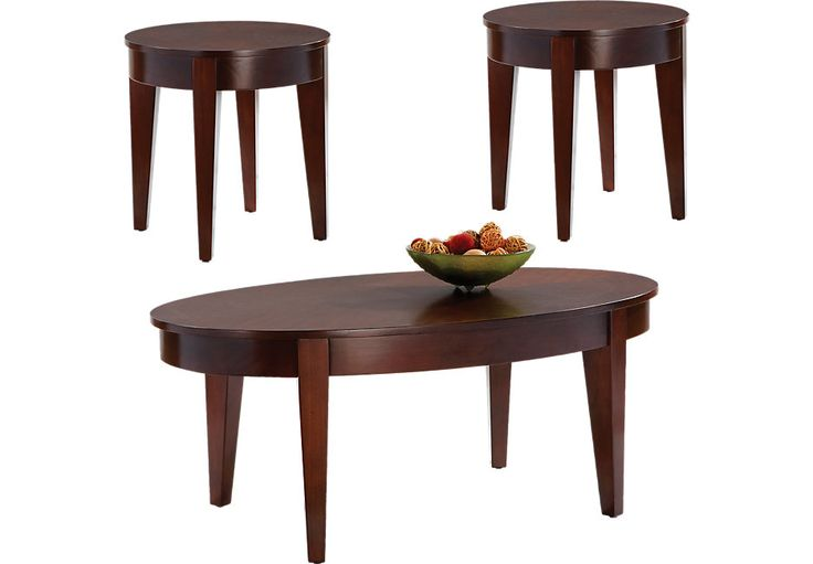 Seth Cherry 3 Pc Table Set .359.97. Cocktail Table 47L x 27W x 19H, End Table 22Diameter x 22H. Find affordable Table Sets for your home that will complement the rest of your furniture.  #iSofa #roomstogo