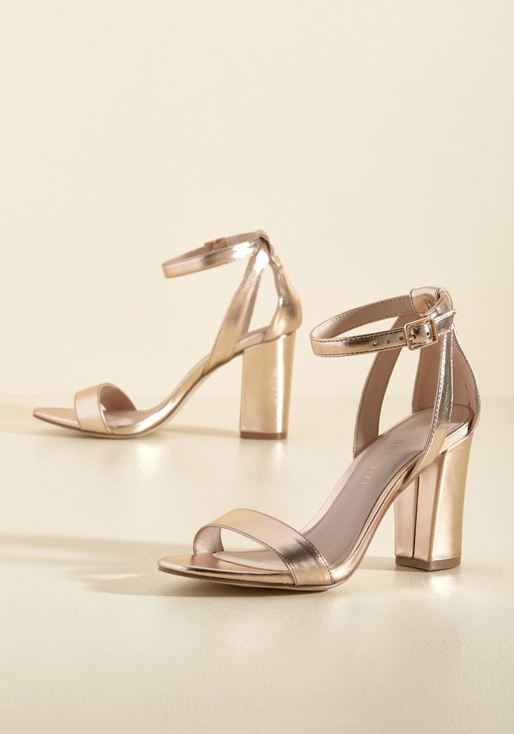A Gleaming Good Time Heel by Madden Girl - Gold, Solid, Cutout, Special Occasion, Prom, Wedding, Party, Cocktail, Holiday Party, Bridesmaid, Bride, Homecoming, Wedding Guest, Minimal, Winter, Good, Chunky heel, Strappy, Rose Gold, Metallic, Under 50 Gifts, Sparkly2015, High