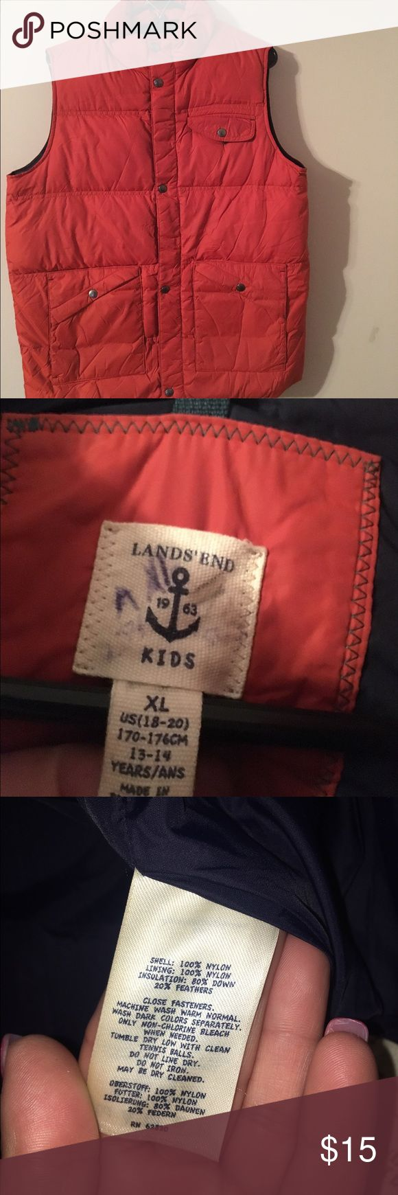 Lands End Kids Down Vest ~ size XL (18-20) Lands End Down Vest ~ XL (18-20) ~ great condition ~ could be worn girl's or boys Lands' End Jackets & Coats Vests