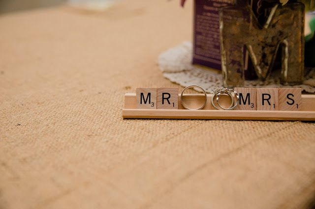 Mr. & Mrs. Scrabble letters + M from Anthropologie Twinings Vintage Tea Tin in background.