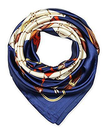 """corciova 35"""" Women's Neckerchief Satin Smooth Scarf for Hair Wrapping at Night Saint Patrick Blue $9.99 Free Shipping"""