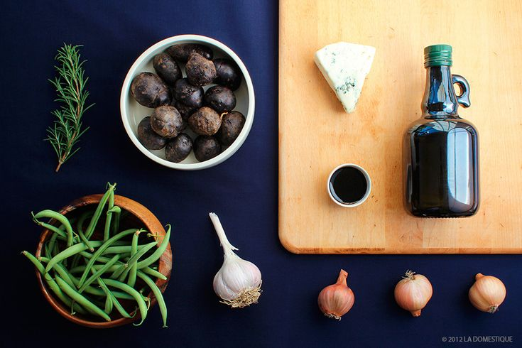Ingredients for Roasted Potato Salad with Shallots, Green Beans, Blue Cheese, and Balsamic Vinaigrette by La Domestique