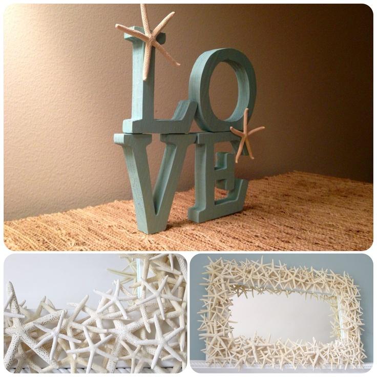 Love - Wood Letters- Beach Decor - Starfish