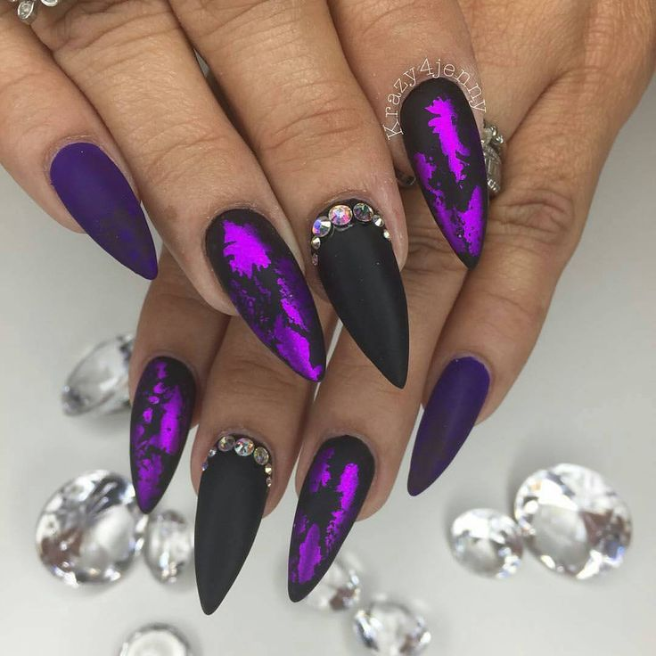 "77 Likes, 3 Comments - Michelle Soto (@chellys_nails) on Instagram: ""Jenny slayed these!@Regrann from @krazy4jenny -  Purple Love!  Inspired By One Of @chellys_nails…"""