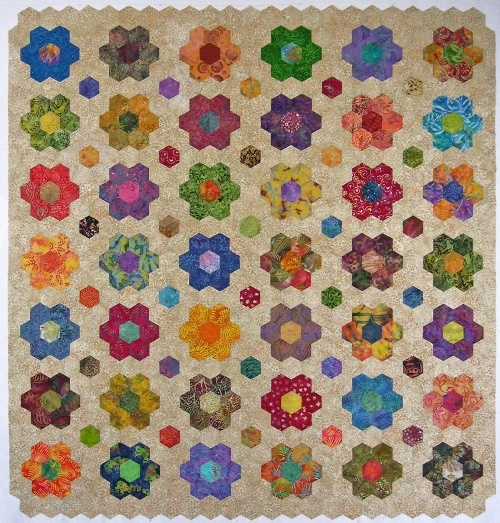 Hexagon quilting. Like the flowers on this one too.